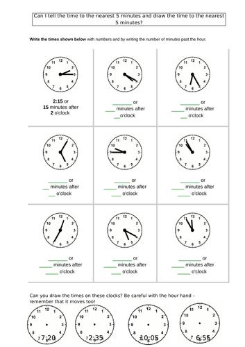 Telling time to 5 minutes worksheet Year 2 analogue