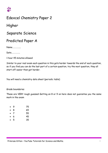 chemistry edexcel paper 2 combined and separate 9 1