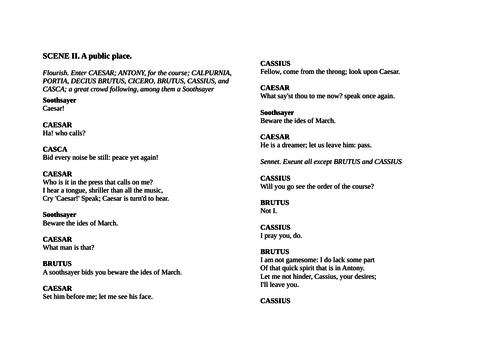 Julius Caesar Act 1 scene 2