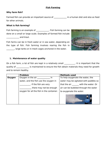 Fish Farming Cloze procedure