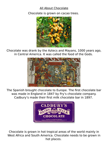 Reading comprehension about Chocolate