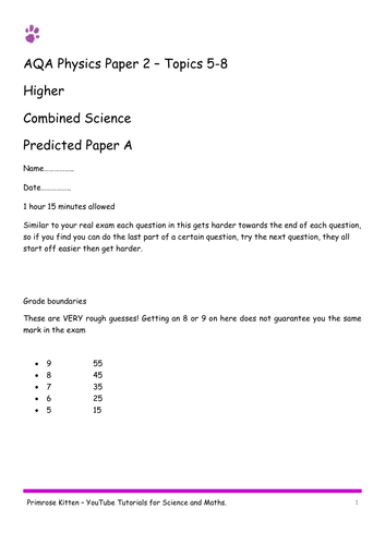 Sample Exam Papers. Physics AQA paper 2 (combined and separate) 9-1 spec. Higher