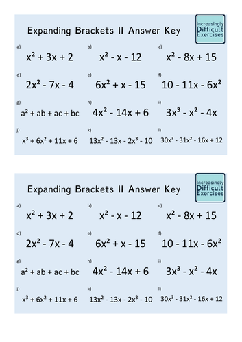 Increasingly Difficult Questions - Expanding Brackets 2