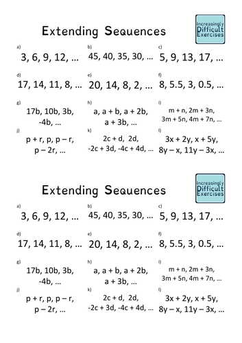 Increasingly Difficult Questions - Extending Sequences