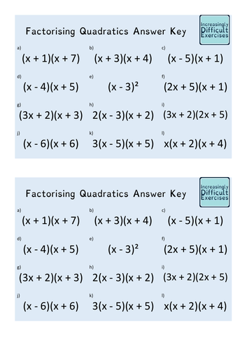 Increasingly Difficult Questions - Factorising Quadratics