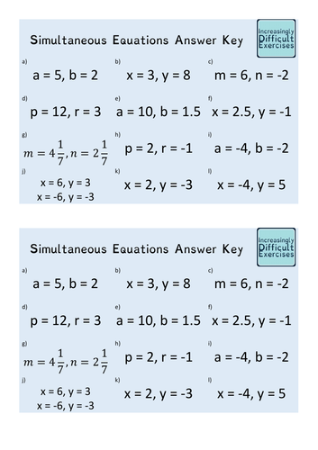 Increasingly Difficult Questions - Simultaneous Equations