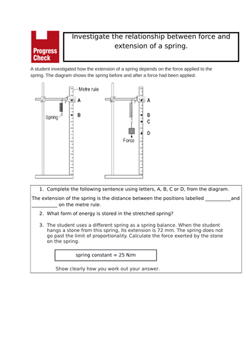 Force and Extension Required Practical Starter