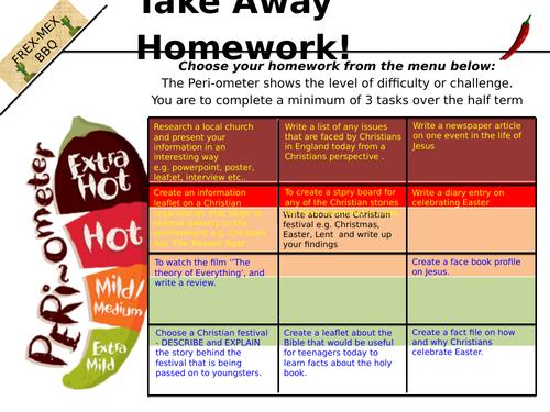 Year 7 RE takeaway homework