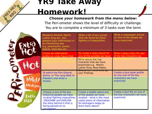 Year 9 takeaway homework tasks