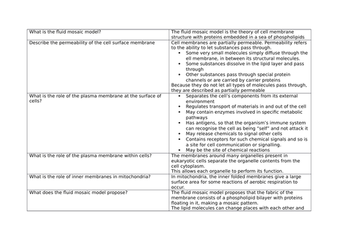 OCR AS Biology Revision Cards Module 2.5
