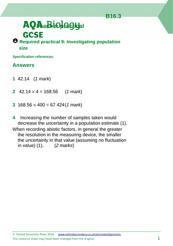 AQA Distribution and abundance Required Practical 9