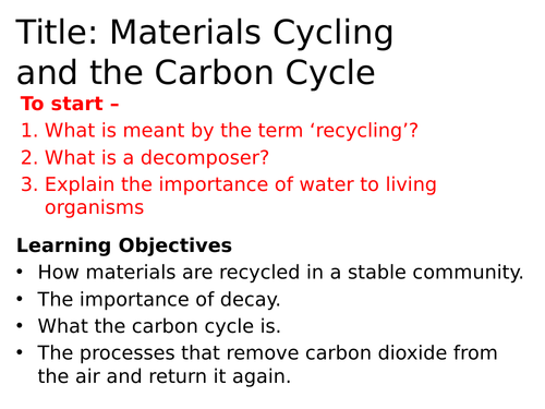 AQA Material Cycling and the Carbon Cycle