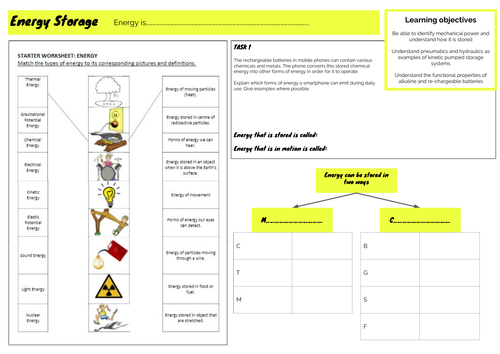GCSE 1-9 Design & Technology - Unit 2 - Energy storage worksheet
