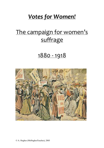 Women's Suffrage Work Booklet - Test Prep and Revision.