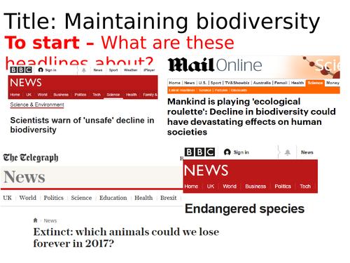 AQA Maintaining Biodiversity
