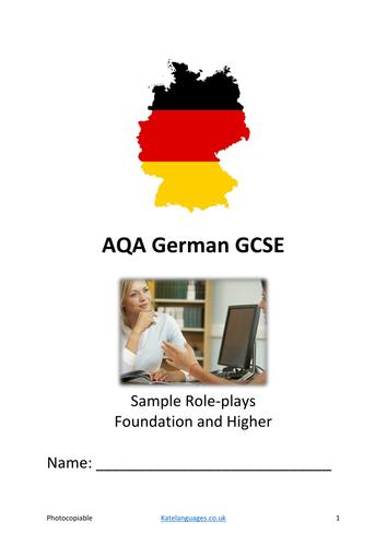 AQA German Speaking exam revision bundle