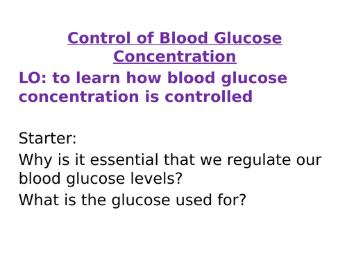 AQA New Spec Control of Blood Glucose Concentration and Diabetes