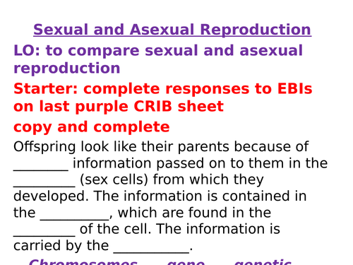 AQA Biology GCSE New Specification Sexual and Asexual Reproduction