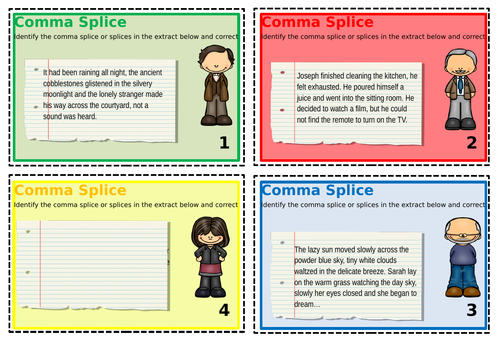 Comma Splice Help Card and Task Cards