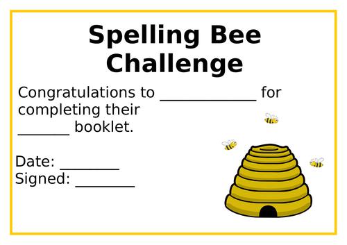 Spelling Bee Certificate
