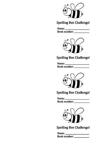 Spelling Bee Challenge booklet and testing sheet