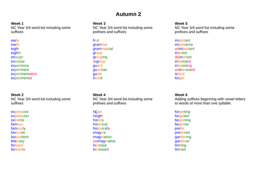 Autumn 2 Year 3 spelling lists