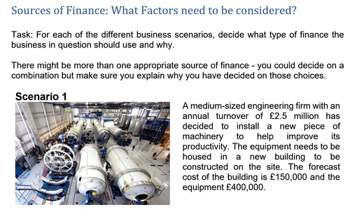 Sources of Finance Scenarios: What Factors need to be considered choosing finance A Level/IB Diploma