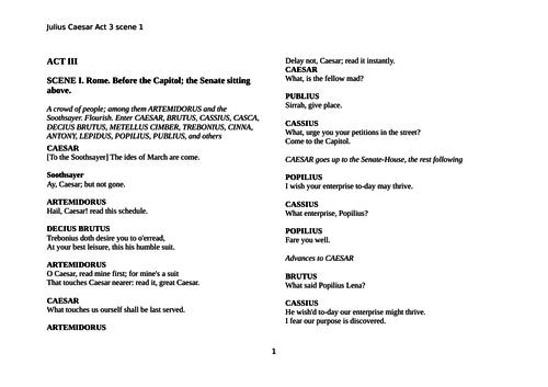 JUlius Caesar Act 3 scene 1 (two lessons)