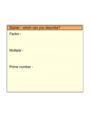 Full lesson on prime factor decomposition
