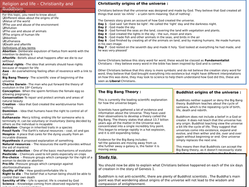 Knowledge organiser forAQA A - Theme B ( Religion and life)