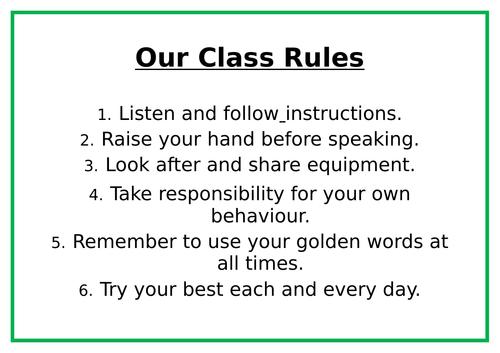 Class Rules display list.