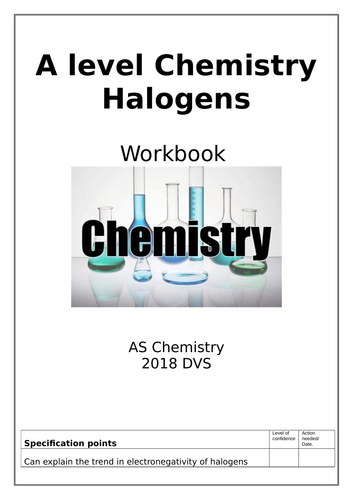 New ChemAlevel Halogens inorganic topic - Full work book that takes you through full topic, and test