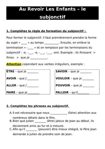 Au Revoir Les Enfants Et Le Subjonctif Teaching Resources