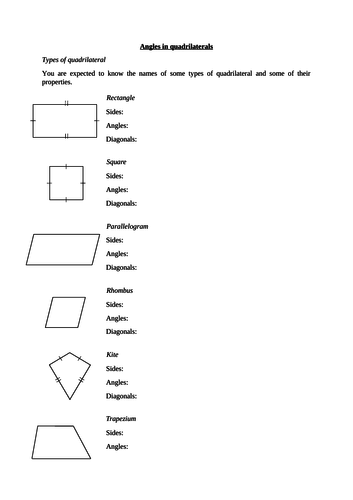 Angles In Quadrilaterals Worksheet By Langy74 Teaching Resources Tes