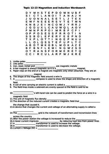 Topic 12-13 Magnetism and Induction Wordsearch