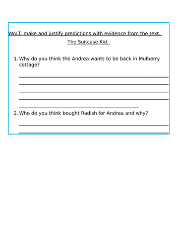 The Suitcase kid Guided Reading questions - Predicting