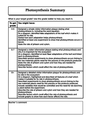 (I)GCSE Photosynthesis Formative Assessment Task