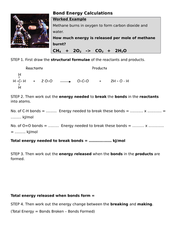 Bond Energy Calculations by styrie101 | Teaching Resources