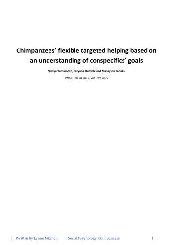 Yamamoto Chimpanzees' flexible targeted helping
