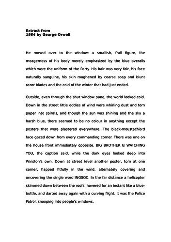 Language Paper 1: Improving Descriptive writing - 1984 (AQA)