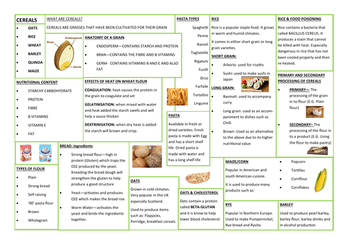 CEREALS - REVISION AID - KNOWLEDGE ORGANISER