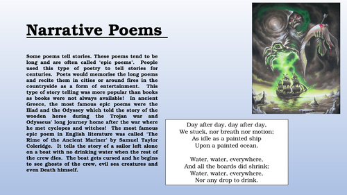 Poetry lessons for year 8 and 9