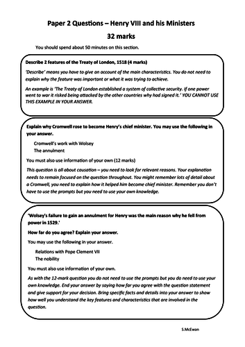 Paper 2 Questions     Henry VIII and his Ministers