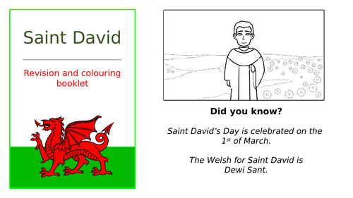 St. David simple story  (includes a revision and colouring booklet presentation)