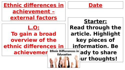 AQA A Level - Sociology - Ethnicity and Education
