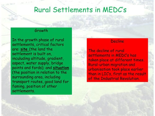 Changes in Rural Settlements MIC - CIE AS Geography - Settlement