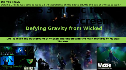 Defying Gravity from Wicked GCSE 9-1