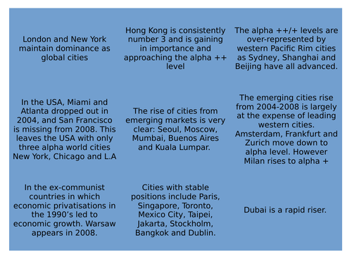 World Cities - CIE AS Geography - Settlement