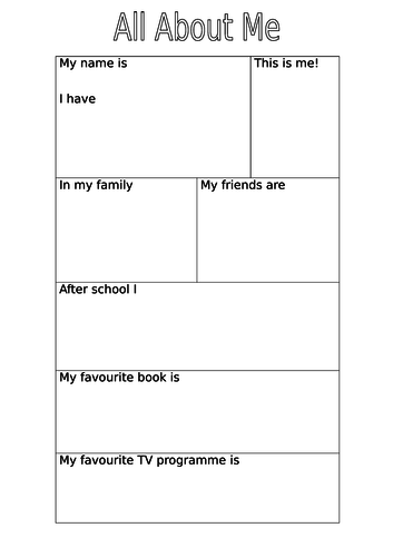All About Me writing frame