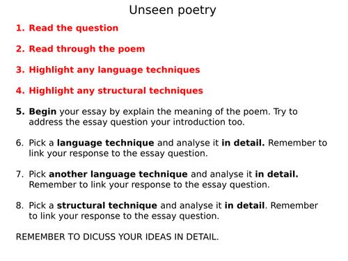 Unseen poetry scaffolding